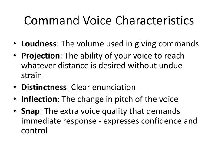 Command Voice Characteristics
