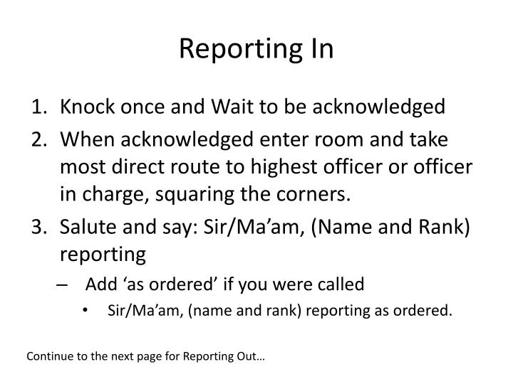 Reporting In