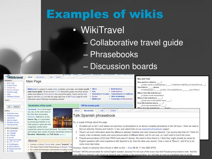Examples of wikis