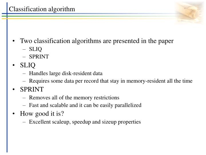 Classification algorithm