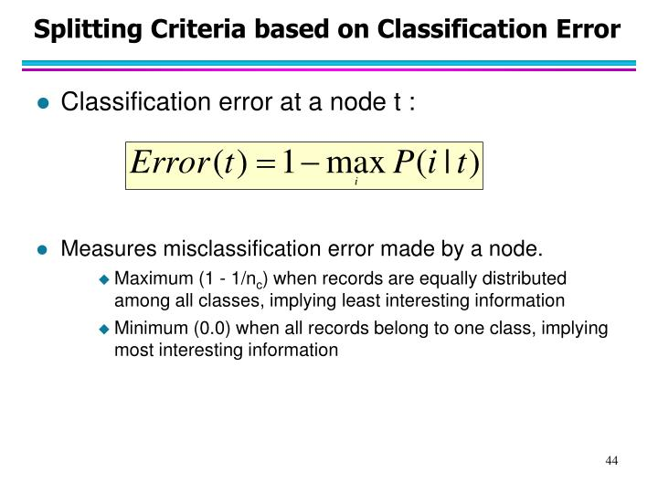 Splitting Criteria based on Classification Error