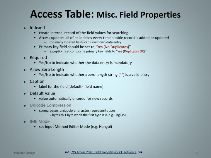 Access Table:
