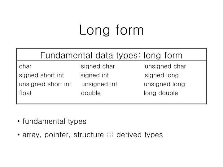 Long form