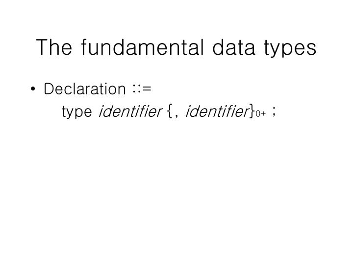The fundamental data types