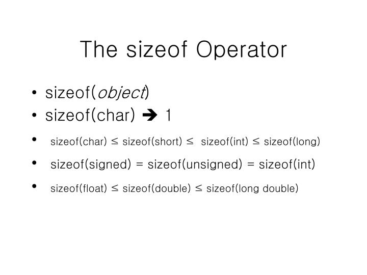 The sizeof Operator