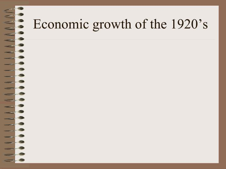 Economic growth of the 1920's
