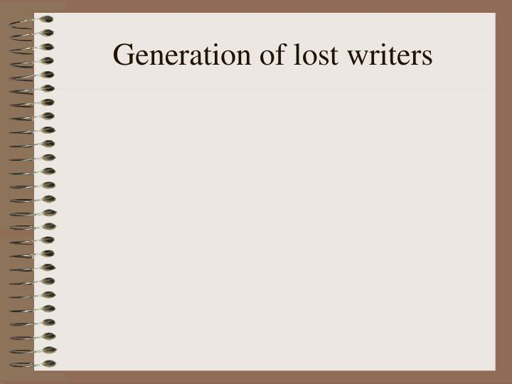 Generation of lost writers
