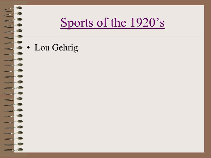 Sports of the 1920's