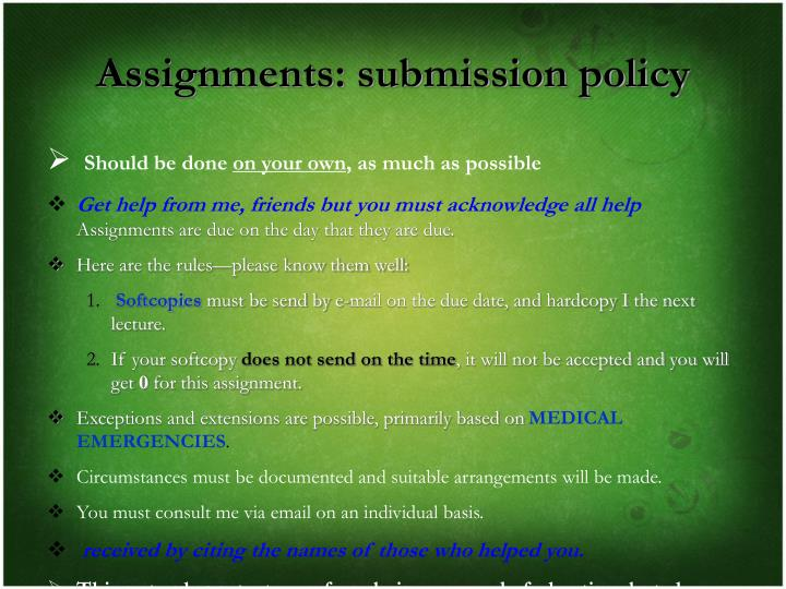Assignments: submission policy