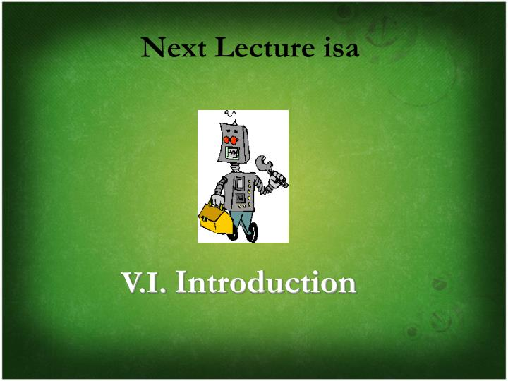 Next Lecture isa