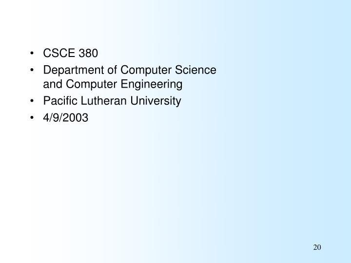 CSCE 380