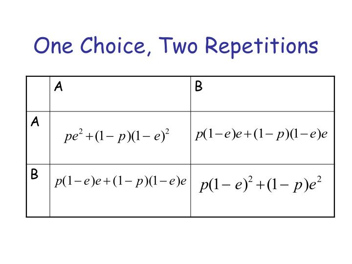 One Choice, Two Repetitions
