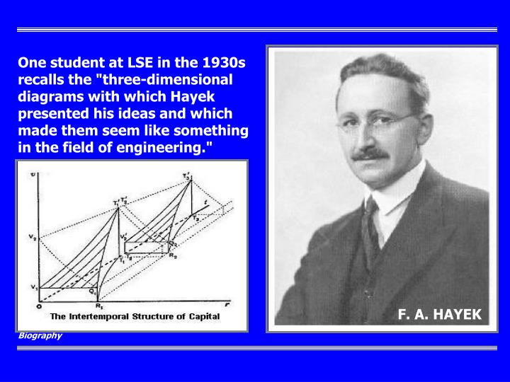 """One student at LSE in the 1930s recalls the """"three-dimensional diagrams with which Hayek presented his ideas and which made them seem like something in the field of engineering."""""""