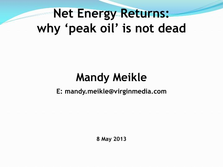 Net Energy Returns: