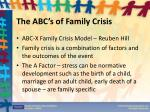 the abc s of family crisis