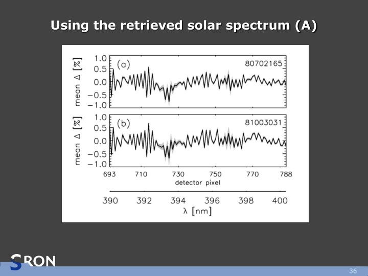 Using the retrieved solar spectrum (A)