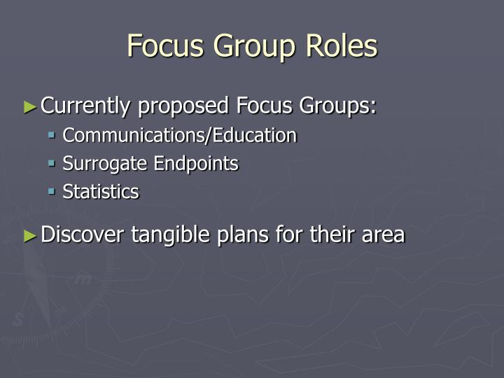 Focus Group Roles