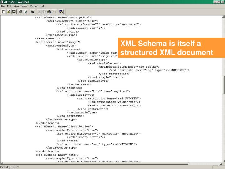 XML Schema is itself a structured XML document