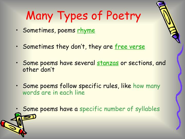Many types of poetry