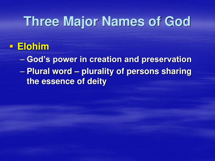 Three Major Names of God