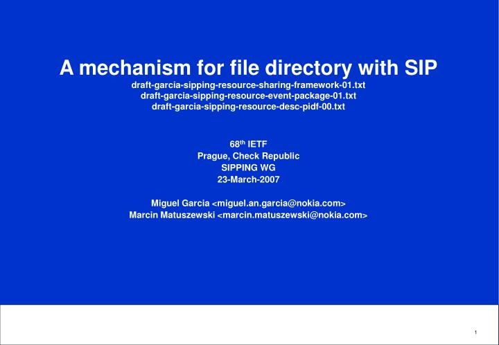 A mechanism for file directory with SIP