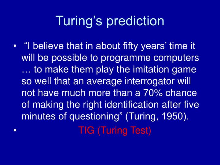 Turing's prediction
