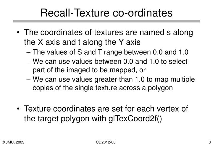 Recall texture co ordinates