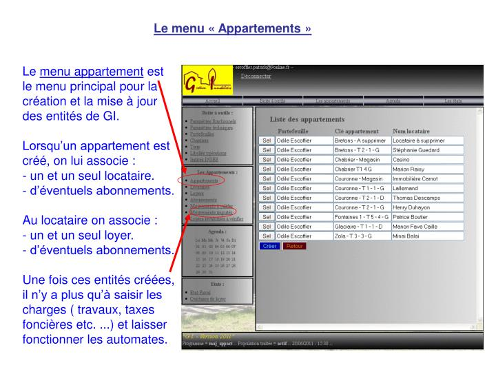 Le menu « Appartements »
