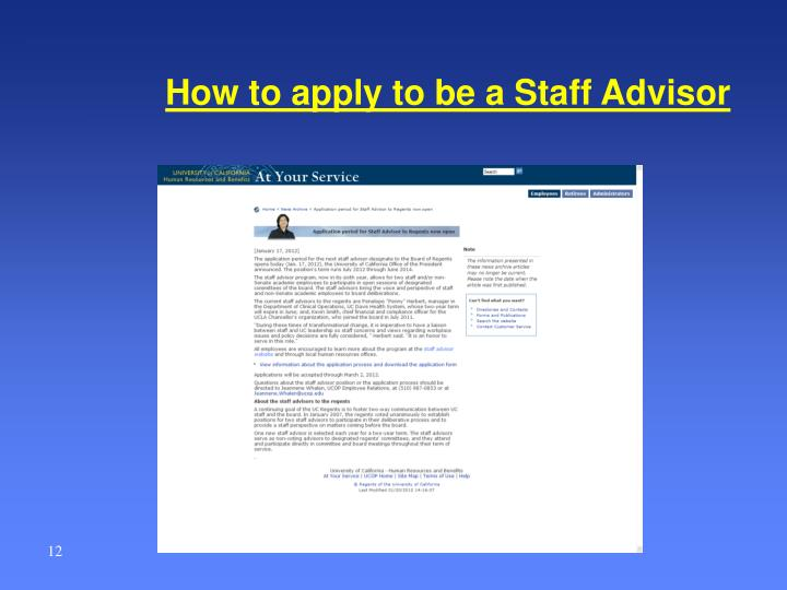 How to apply to be a Staff Advisor