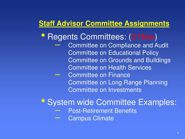 Staff Advisor Committee Assignments