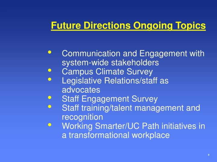 Future Directions Ongoing Topics