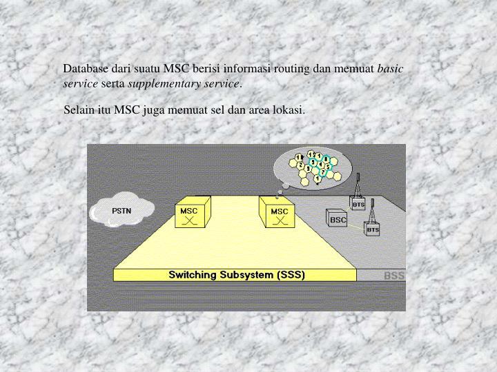 Database dari suatu MSC berisi informasi routing dan memuat