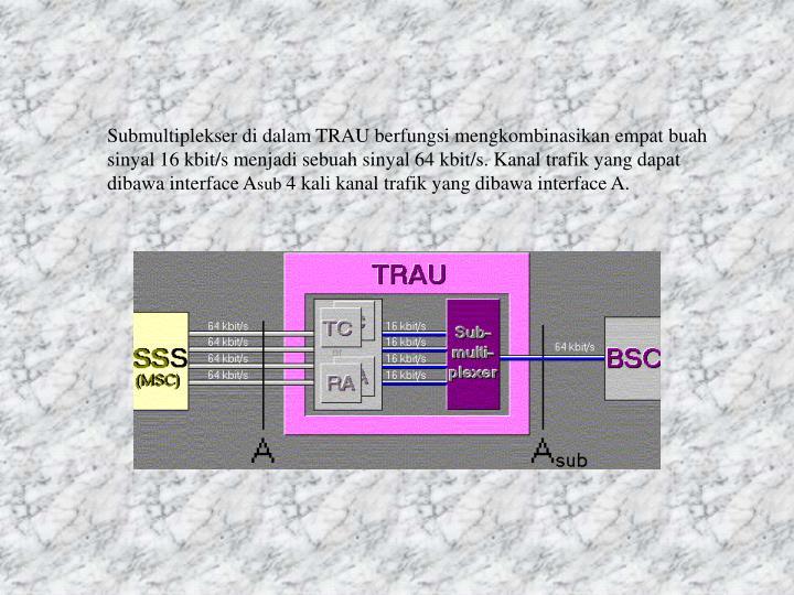 Submultiplekser di dalam TRAU berfungsi mengkombinasikan empat buah sinyal 16 kbit/s menjadi sebuah sinyal 64 kbit/s. Kanal trafik yang dapat dibawa interface A