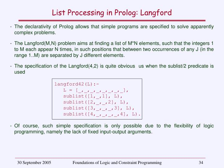 List Processing in Prolog: Langford