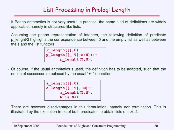 List Processing in Prolog: Length