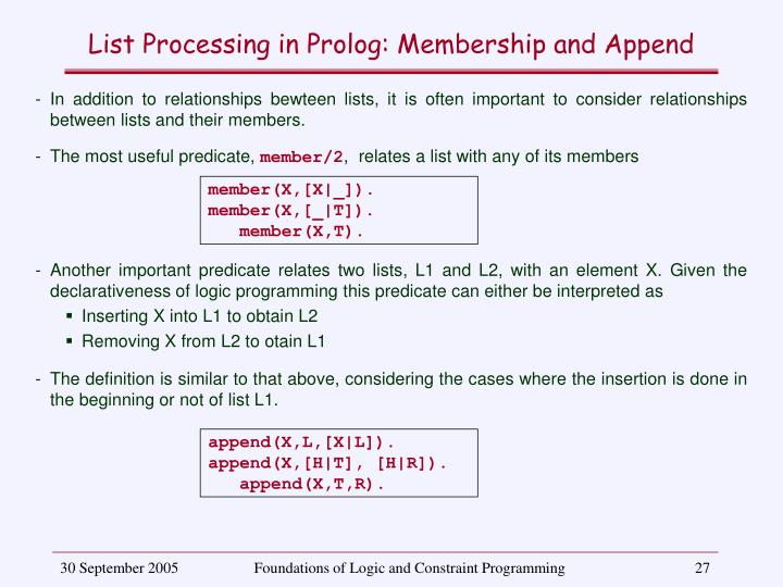 List Processing in Prolog: Membership and Append