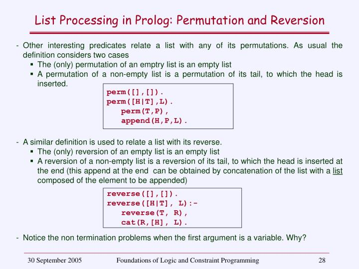 List Processing in Prolog: Permutation and Reversion