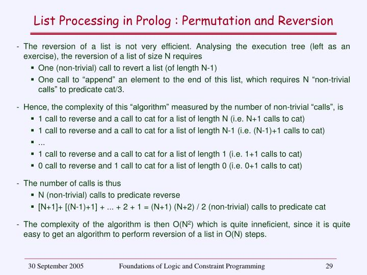 List Processing in Prolog : Permutation and Reversion