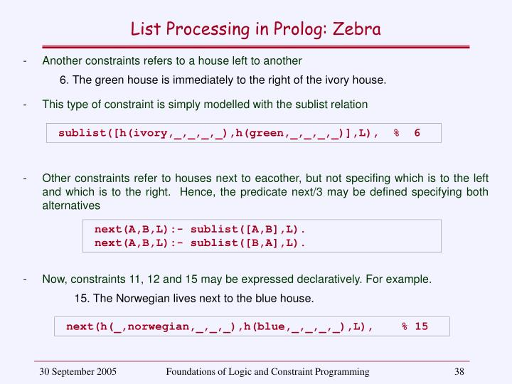 List Processing in Prolog: Zebra