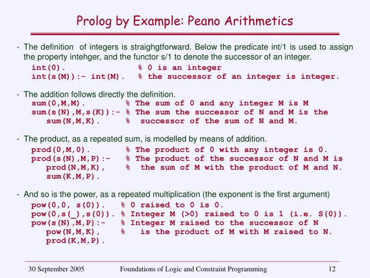 Prolog by Example: Peano Arithmetics