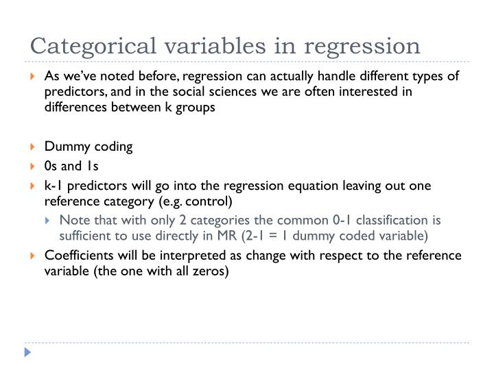 As we've noted before, regression can actually handle different types of predictors, and in the social sciences we are often interested in differences between k groups