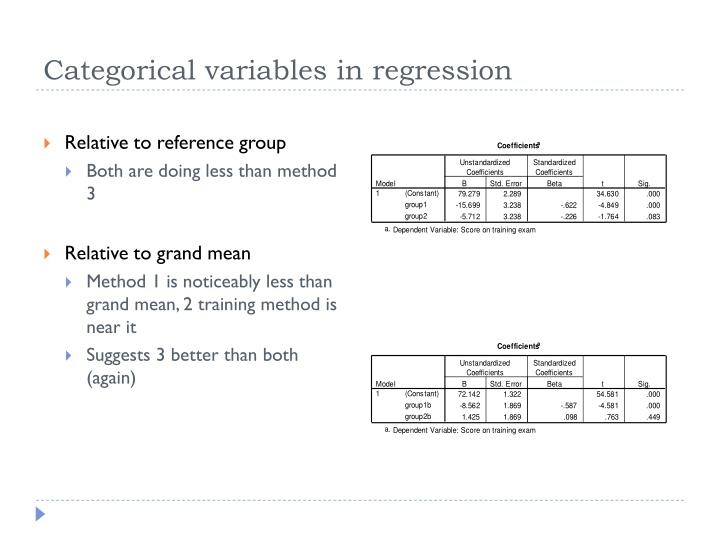 Categorical variables in regression