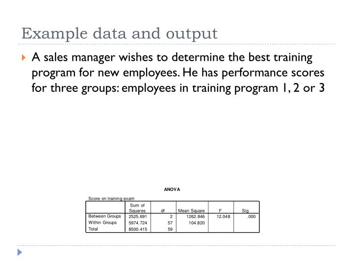 Example data and output