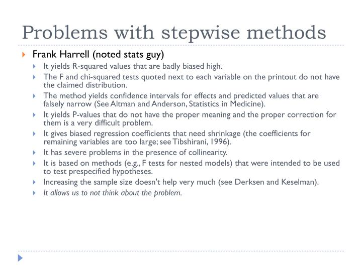 Problems with stepwise methods