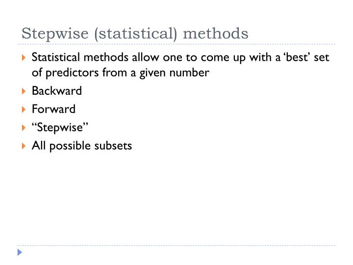 Stepwise (statistical) methods