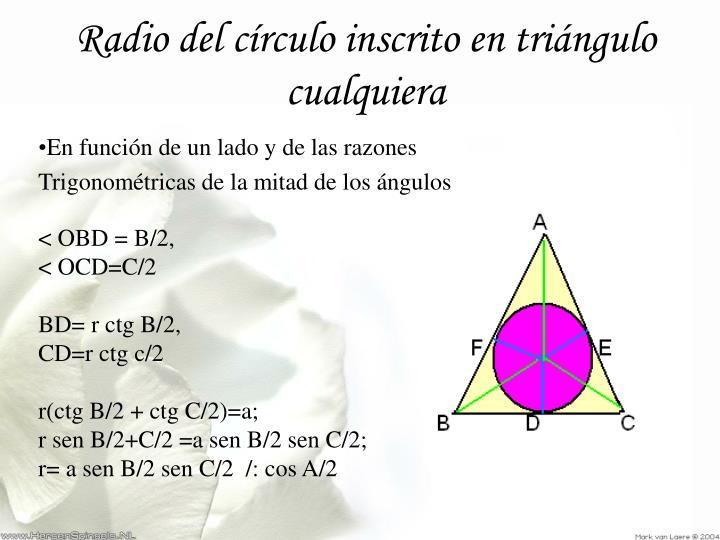 Radio del círculo inscrito en triángulo cualquiera