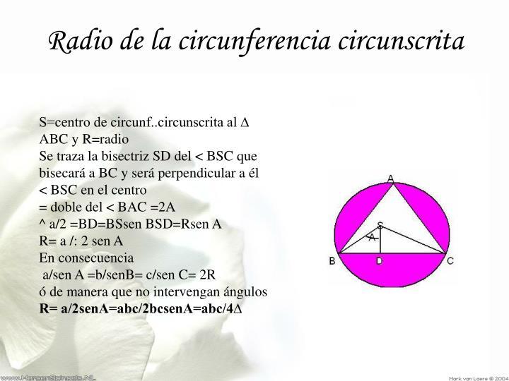 Radio de la circunferencia circunscrita