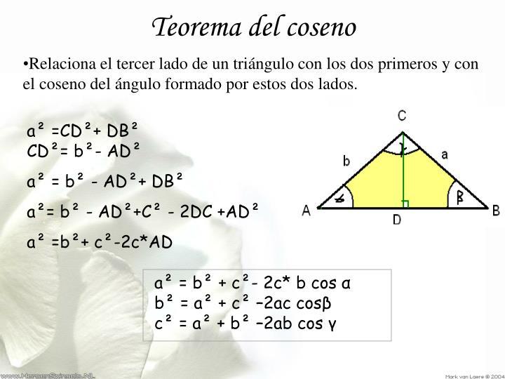 a² = b² + c²- 2c* b cos α