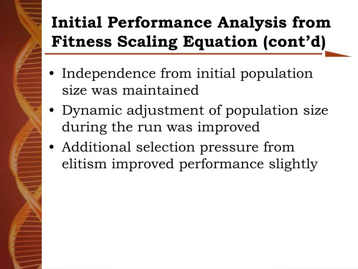 Initial Performance Analysis from Fitness Scaling Equation (cont'd)