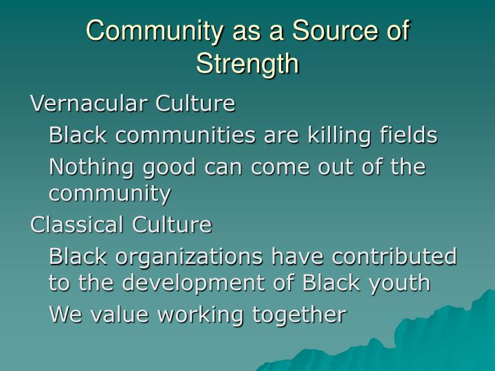 Community as a Source of Strength
